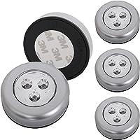 Briloner lampen - Set van 5 Stick&Push LED Touch lamp, werkt op batterijen, nachtlampje zelfklevend (3M merklijm…