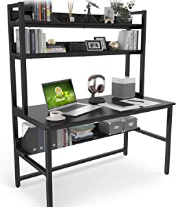 Computer Desk with Hutch and Bookshelf, 47 Inches Black Home Office Desk with Space Saving Design, Metal Legs Table Desk with Upper Storage Shelves for Study Writing/Workstation, Easy Assemble