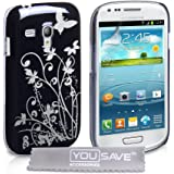 Yousave Accessories Floral Hard Back Cover Case for Samsung Galaxy S3 Mini - Black/ Silver
