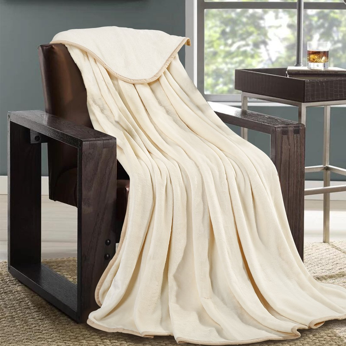 Queen, Ivory MAEVIS Luxury Fleece Blanket Super Soft Cozy Lightweight Plush Fur Warm All Season Throw for Bed and Couch