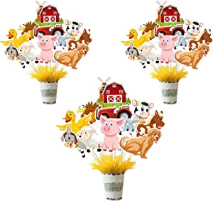 Farm Animal Party Supplies,Kids Table Centerpieces for Party Centerpiece Sticks Zoo Animal Party Table Topper Cutouts for Kids Farm Animal Theme Birthday Party Decor Cake Topper Photo booth Props