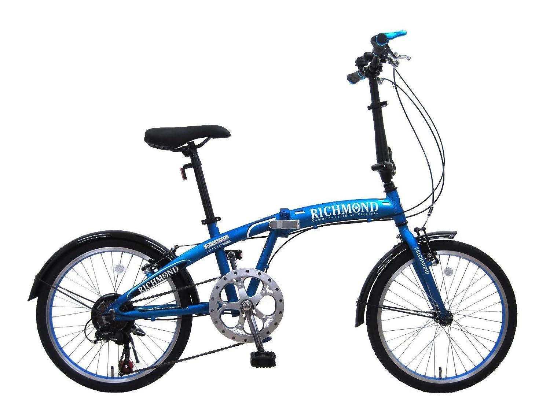 リッチモンド メタリックブルー 20インチ アルミフレーム シマノ6段変速 折りたたみ自転車   B01FFAGGA2