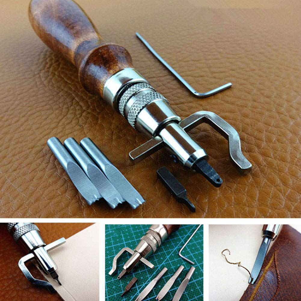 PinShang Leather Craft Stitching Groover Skiving Edger Beveler Leather Working Tools Kit