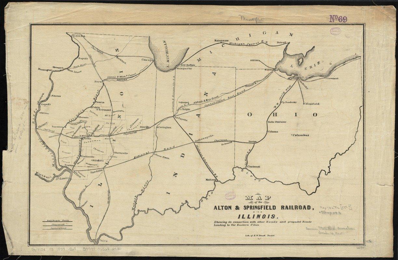 Historicマップ  1847 – 1859の地図のAlton &スプリングフィールドRailroad、イリノイ州の: Showing Its接続と他の道路と提案された道路Leading to the Eastern都市 アンティークヴィンテージReproduction 54in x 36in 5134837_5436 B0782H2X48   54in x 36in