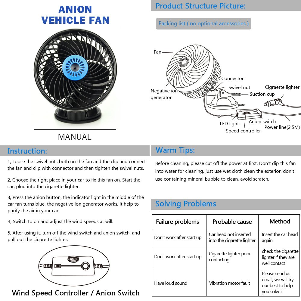 bestfire 12v fan, car fan with negative lons feature, vehicle fan air purifier suction cup, stepless dashboard electric car fan, cooling airSwitches In Centre Of Car Dont Work And The Blower Will Not Turn #13