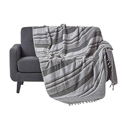 Colcha Marruecos Homescapes con relieve 228 x 254 cm a rayas colores gris humo y gris claro, hecho a mano, 100% algodón, apropiada para sofás, camas ...