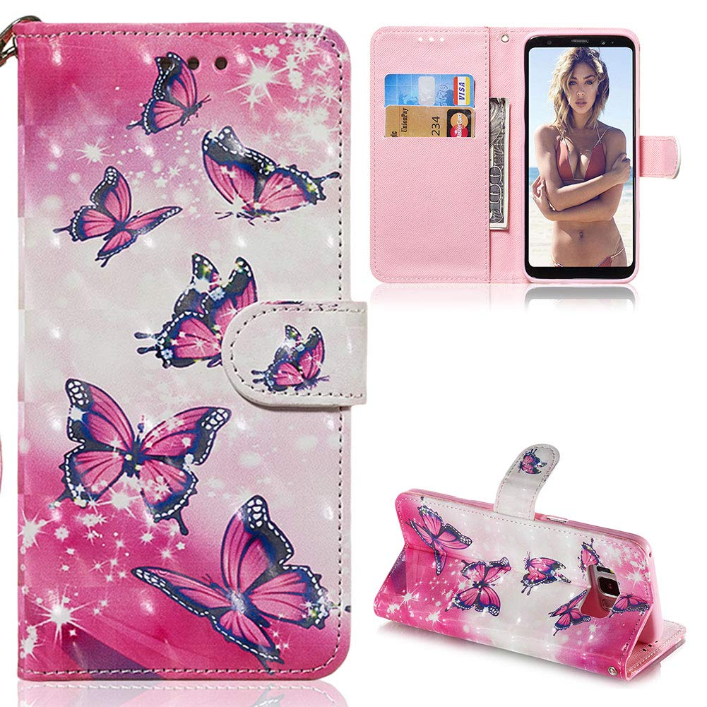 ZCXG Compatible with Samsung Galaxy S8 Case Pink Butterfly Clear Leather Wallet Shockproof Card Slots Flip Stand Phone Protective Cover Slim Fit Magnetic Closure Ultra Thin for Samsung S8