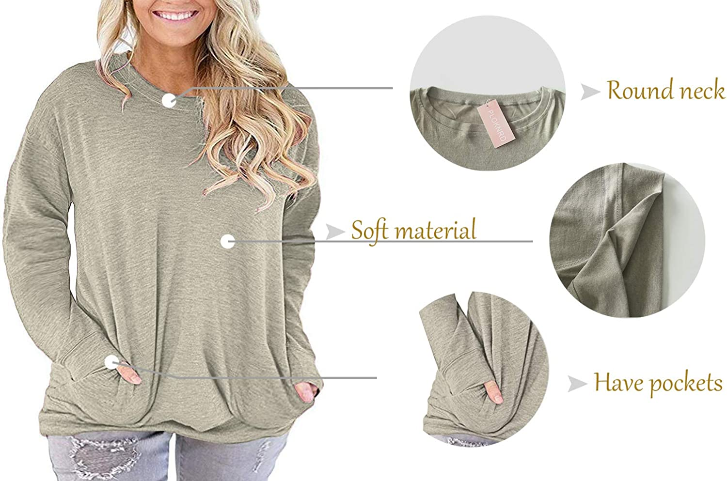 PLOKNRD Women Plus Size Casual Round Neck Long Sleeve Fit Tunic Top Baggy Comfy Blouse with Pockets
