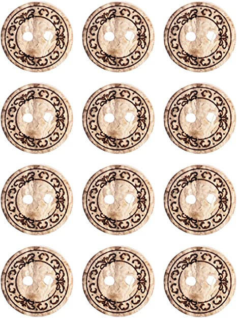 1Mibo Real Coconut Laser Etched Floral Pattern 2 Hole Button Assorted Size /& Color Packs White 15 mm 12-Pack