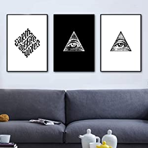 Masonic Logo Wall Art Canvas Painting Black White Nordic Posters and Prints Paintings for Living Room Wall Pictures (50x70cm) x3 Frameless