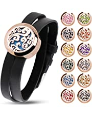 RoyAroma Aromatherapy Essential Oil Diffuser Bracelet, Rose Gold Cloud Pattern Pendant Locket Jewelry, Stainless Steel Locket Bracelet Leather Wristband with 12 Felt Pads