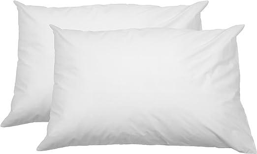 AmazonBasics - Funda de almohada suave con cremallera (100% algodón, 50 x 80 cm, 2 unidades): Amazon.es: Hogar