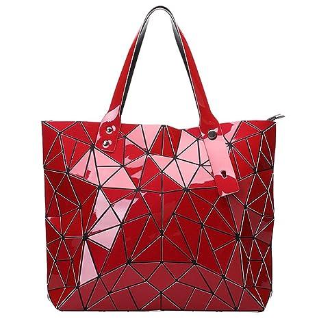 Bolsas Plegables geométricas Femeninas del Laser de la Tela Escocesa de la Moda Bolso de Hombro