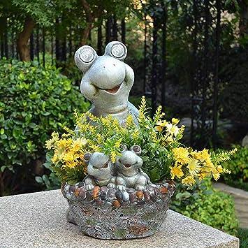 Figura Decorativa para jardín Maceta De Tortuga Creativa Luces Solares Con Energía Solar Impermeable Estatua De