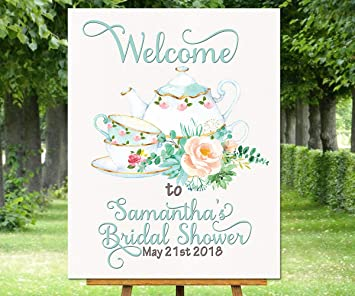 Amazon.com: Cartel de bienvenida con diseño de tetera y ...