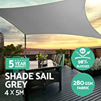 Instahut Sun Shade Sail Cloth Shadecloth Outdoor Sunblock Canopy Awning Rectangle 280gsm 4x5m