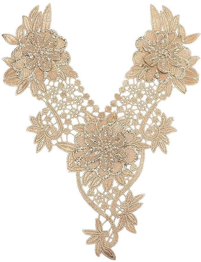 Flower Embroidery Applique Lace Neckline Collar Trim for Women Girls Clothes