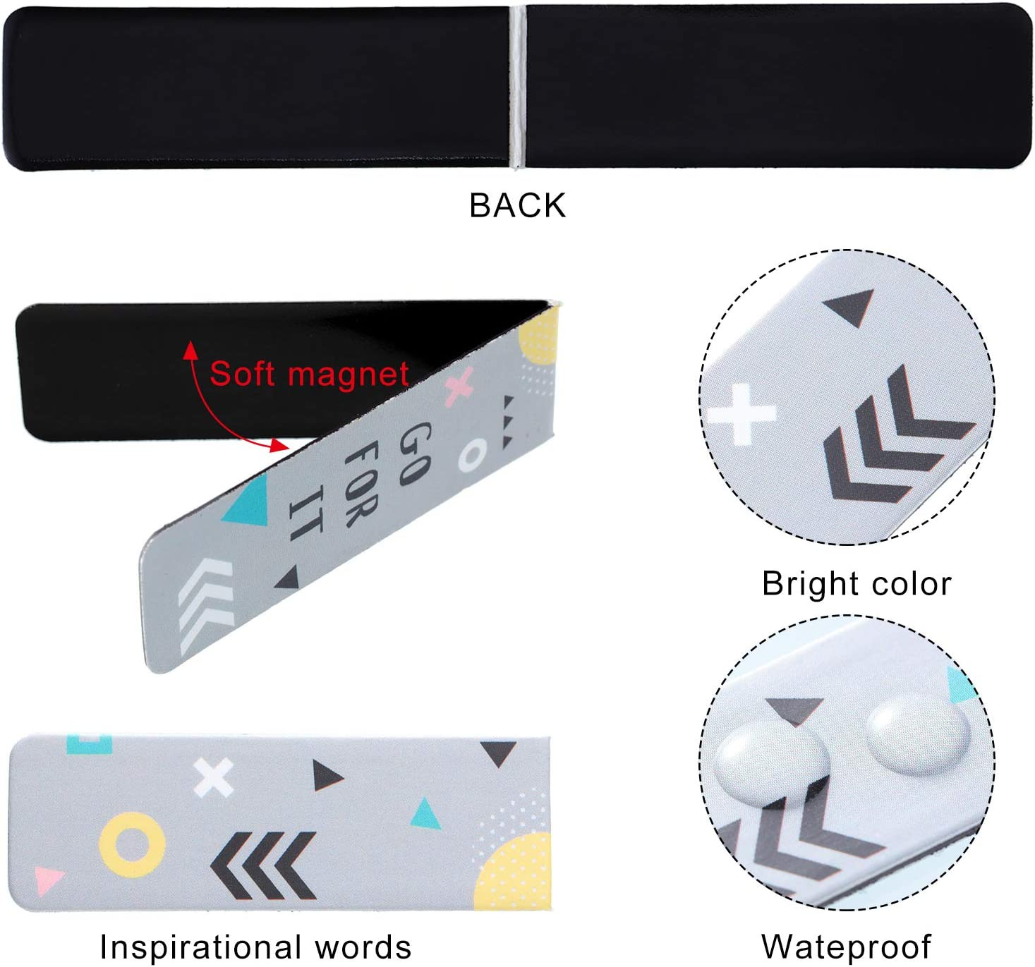 30 Pieces Magnetic Bookmarks Inspirational Quotes Bookmarks Encouraging Motivational Magnetic Bookmarks Geometric Theme Colorful Cute Positive Magnet Page Marker Clip for Party Supplies