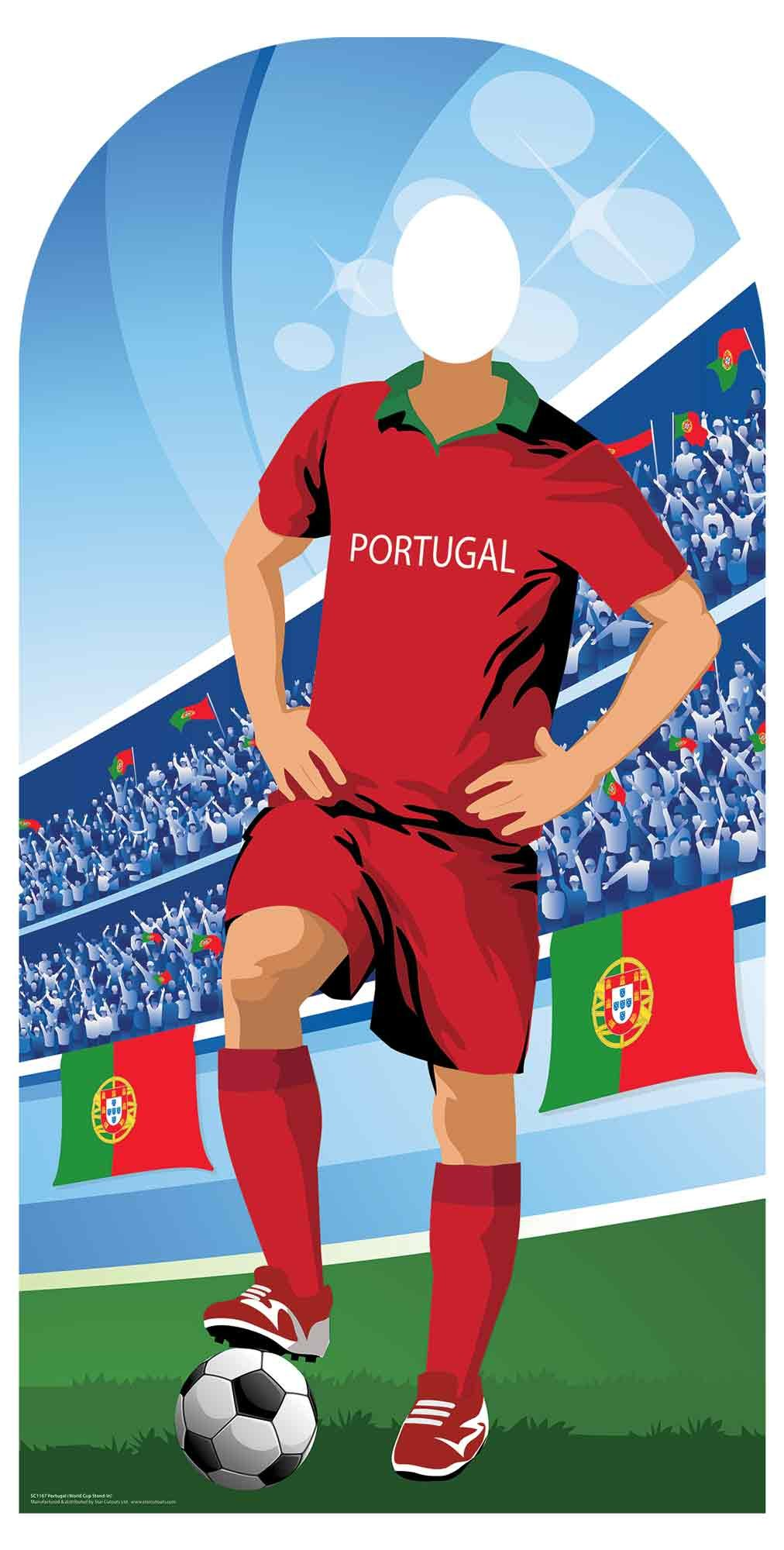 Portugal (World Cup Football Stand-in) Adult Size 6ft /190cm Tall with Free Mini Destop Cut Out