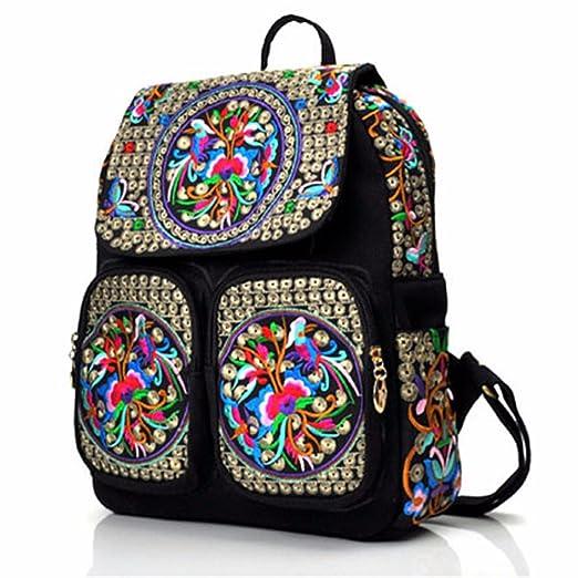 book bag Women Ethnic Tribal Shoulder Bag Rucksack Retro Embroidered  Backpack: Amazon.co.uk: Clothing