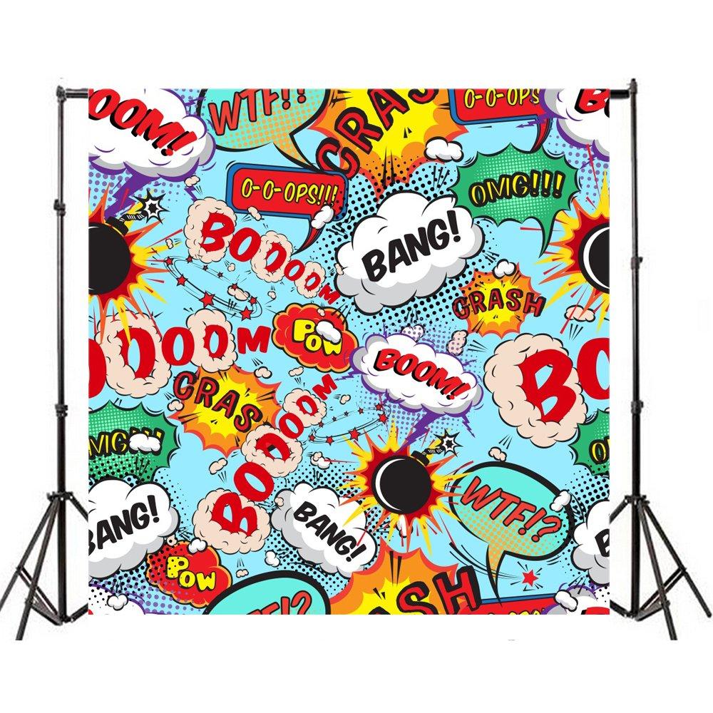 Yeele 10 x 10ft Super Hero Cartoonユーモア写真の背景幕ビニールWow Bang Boom Scream Funny Signsシンボル写真背景Bomb Explosion Illustration新生児赤ちゃん誕生日パーティーStudio小道具   B07CNXGT16