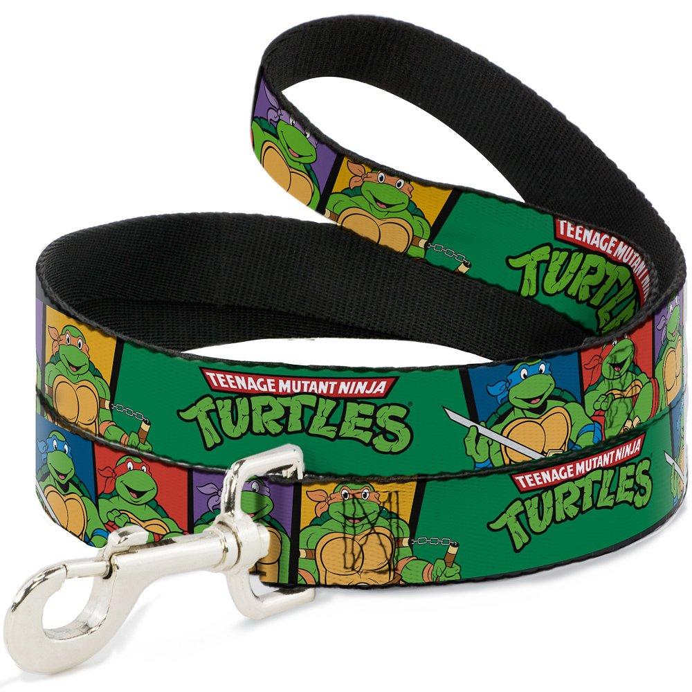 Teenage Mutant Ninja Turtles Buckle-Down Classic TMNT Group Pose3/TMNT Logo Green/Multicolor Pet Leash, 6-1.5