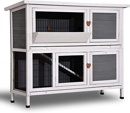 Lovupet 2 Stories Rabbit Hutch Guinea Pig Cage Outdoor Wooden Bunny Cage