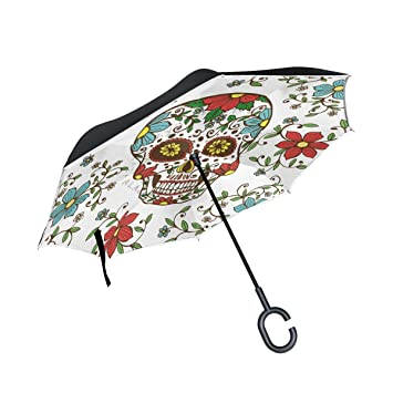 mydaily doble capa paraguas invertido coches Reverse paraguas día de los muertos azúcar calavera con flores