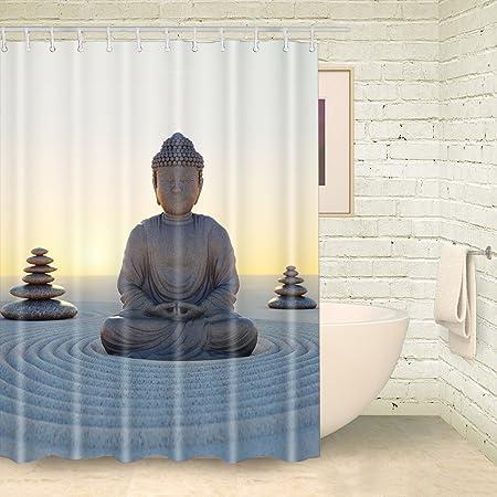 FOOG Meditation Of Buddha Shower Curtains Yoga Curtain Bathroom Set With Hooks