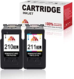 Mony Remanufactured Canon PG-210 CL-211 XL Ink Cartridges (Black & Tri-Color, 2 Pack) Replacement for Canon Pixma MP495 MP480 MP250 MP280 IP2702 MX340 MX410 Printers, Ink Level Display