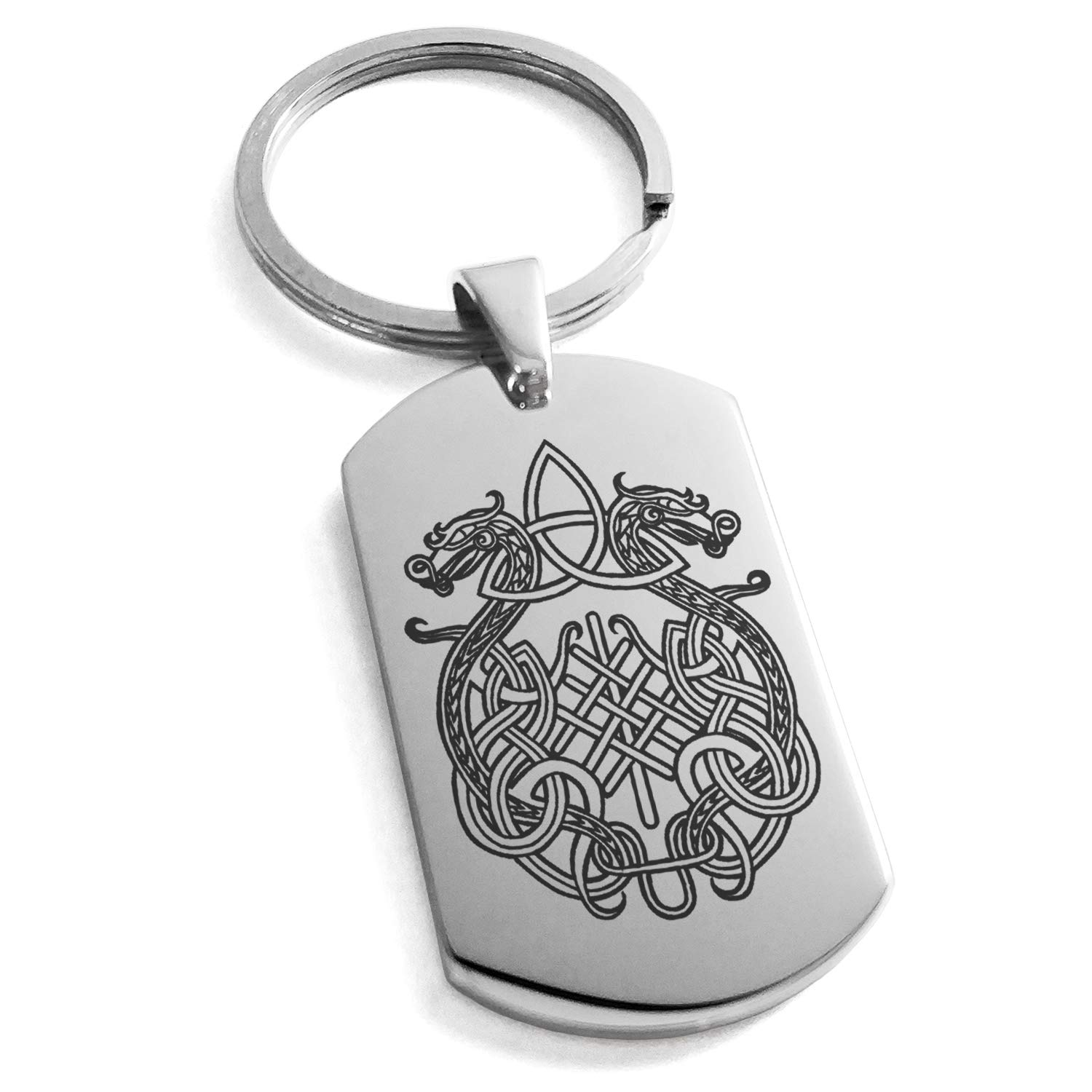 Tioneer Stainless Steel Dragon Knot Skuld's Net Viking Rune Symbol Engraved Dog Tag Keychain Keyring