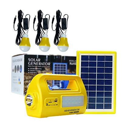 DC Solar Lighting System, Solar Panel Lighting Kit, Solar Home DC System  Kit, Multifuncation Solar Generator with 3 LED Light Bulb and 2 USB Charger