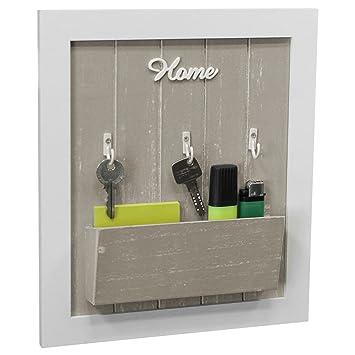wandorganizer mit schla 1 4 sselbrett und ablage 3 metallhaken holz weia grau memoboard flur diele dekoration memotafel selber nahen