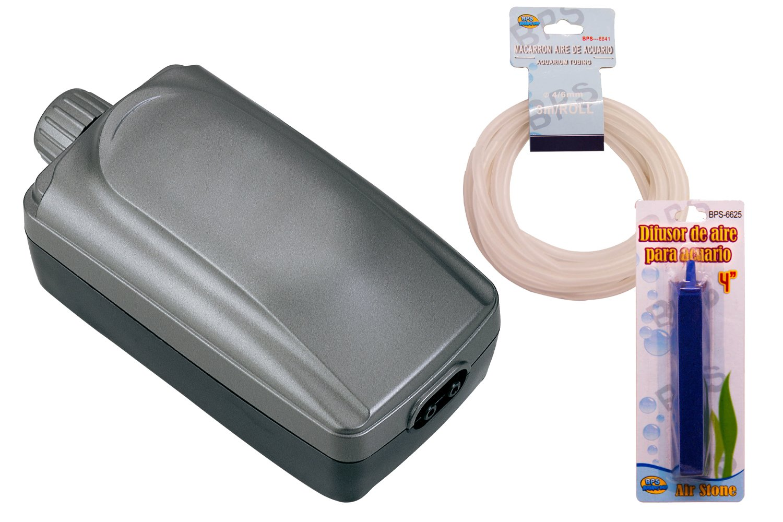 BPS R Bomba de Aire, Oxigenador Compresor de Doble Salida incluidos Manguera y difusor