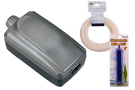 BPS (R Bomba de Aire, Oxigenador Compresor de Doble Salida incluidos Manguera y difusor