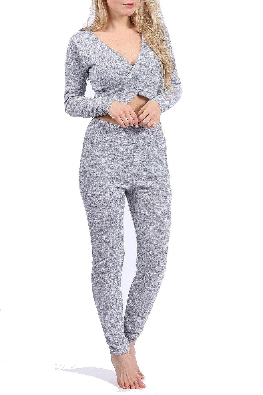 New Women Melange Crop Top and Jogger Set Grey, Nude Size UK S/M, M/L:  Amazon.co.uk: Clothing