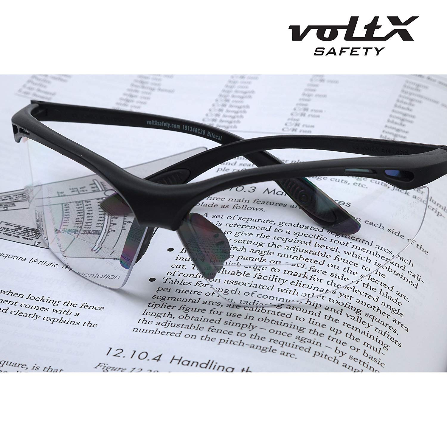 Rigid Clamshell Safety Case CLEAR +1.0 Dioptre CE EN166F certified//Cycling Sports Glasses includes safety cord voltX CONSTRUCTOR BIFOCAL Reading Safety Glasses