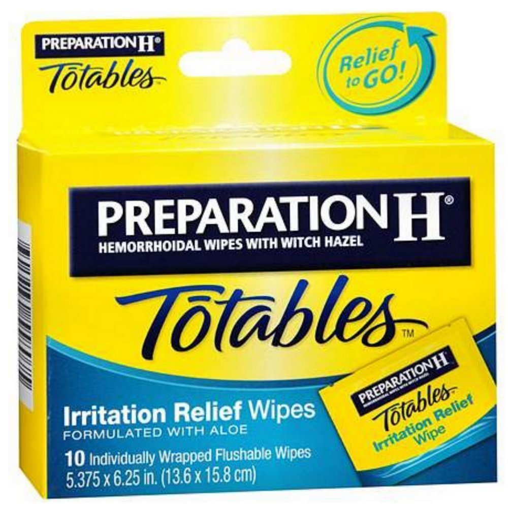 Preparation H Totables, Hemorrhoidal Wipes with Witch Hazel 10 ct (Quantity of 6)