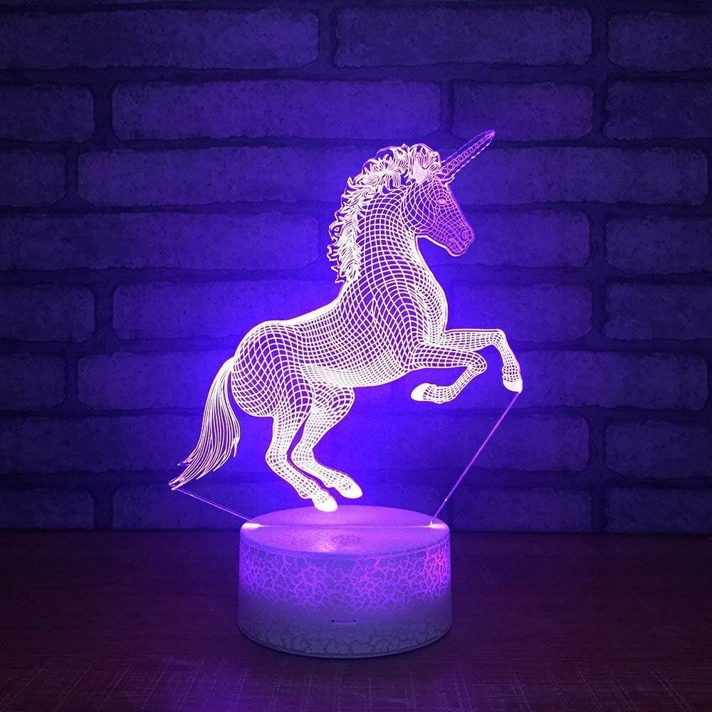 Subtop Lámpara de ilusión óptica 3D, 7 Lámpara de tacto de cambio de color con plano acrílico, base ABS, carga USB para decoración del hogar (Lámpara de caballo)