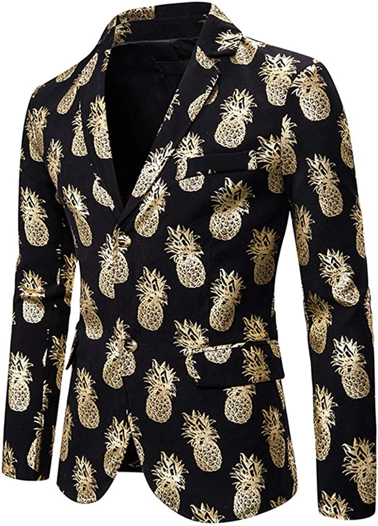 Men Blazer Jacket SFE Winter Slim Fit Notched Lapel Pineapple Print Two Button Lightweight Sports Coats with Pockets