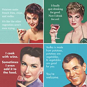 Retro Cocktail Napkin for Women and Men - Humorous Ephemera Gift Box Variety Pack 40 Total Napkin