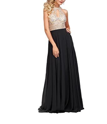 Half Flower Bridal Chiffon Halter Long Evening Party Dresses Beaded Bodice Sleeveless Graduation Prom Gowns Black