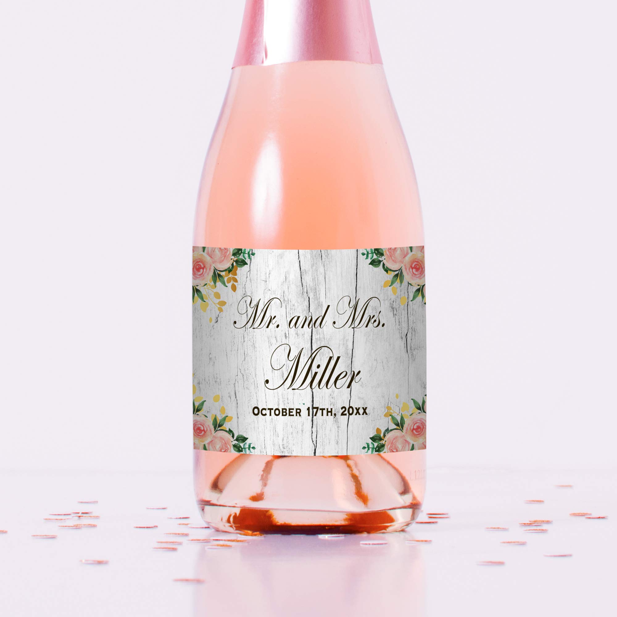 100 Mini Wine or Mini Champagne Bottle Labels Personalized Rustic Floral