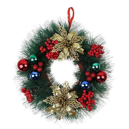 yjydada christmas wreath decor for xmas party door wall hanging garland ornament 30cm a - Hanging Garland Christmas Decorations