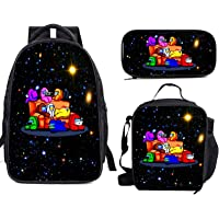 HZgjcZHG Among Us Teens Boys Girls Schoolbag Backpack Casual with Insulated Lunch Box Pencil Case Box 3 Pieces Set