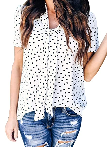 c909f5d609b768 Amazon.com: MAXIMGR Women's Vintage Polka Dot Print Bow Tie Front Short  Sleeve Chiffon Shirt Casual Summer Top Blouse: Clothing