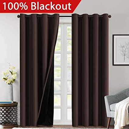 double layer curtains modern 100 blackout curtains 84 inches long lined inches for bedroom grommet thermal insulated amazoncom