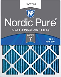 Nordic Pure 14x25x1 MERV 7 Pleated AC Furnace Air Filters, 6 Pack, 14x25x1M7-6
