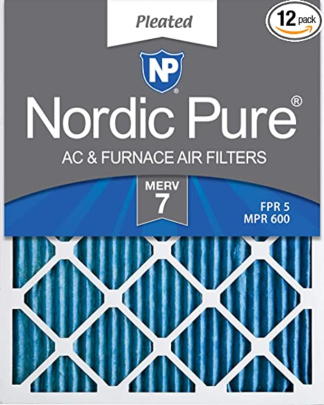 Nordic Pure 20x24x1 MERV 13 Pleated AC Furnace Air Filters 1-Inch 12 Pack