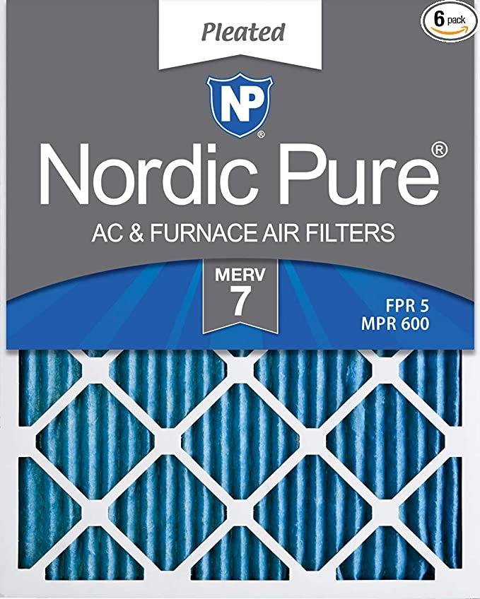 Nordic Pure 16x24x1 MERV 10 Pleated AC Furnace Air Filter Box of 6